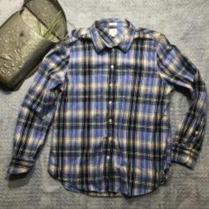 J.Crew Boy Fit Blue Plaid Button Shirt Size Large